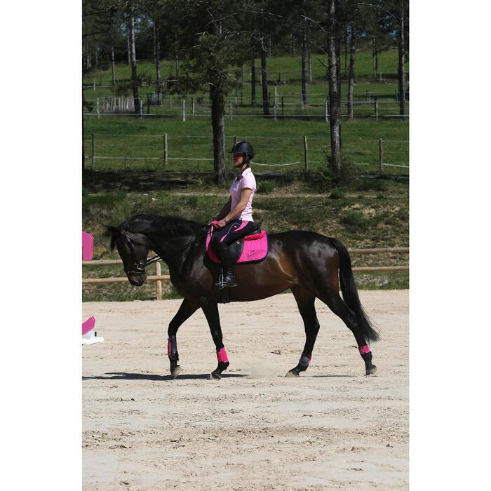 Amortiguador de dorso espuma equitación LENA POLAR azul marino y rosa fucsia