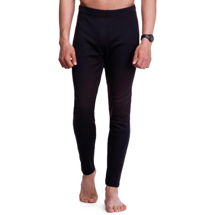 男款滑雪底層長褲Simple-Warm - 黑色