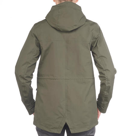 Jaket gunung country walking parka tahan air wanita NH500 Protect - khaki