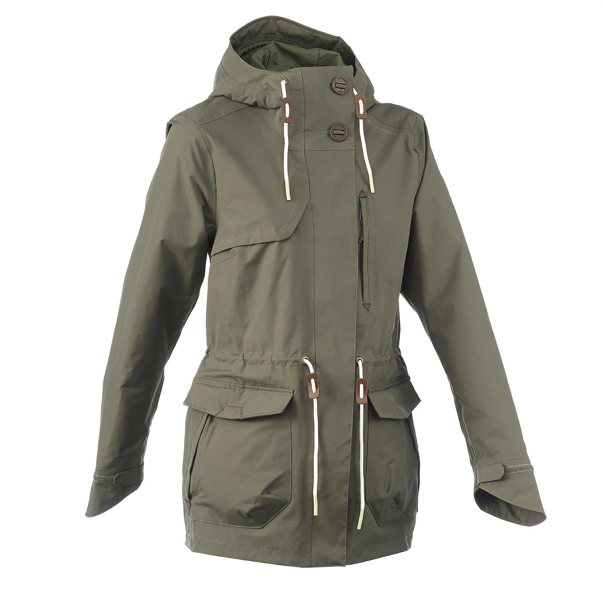 Khaki parka jacket for women