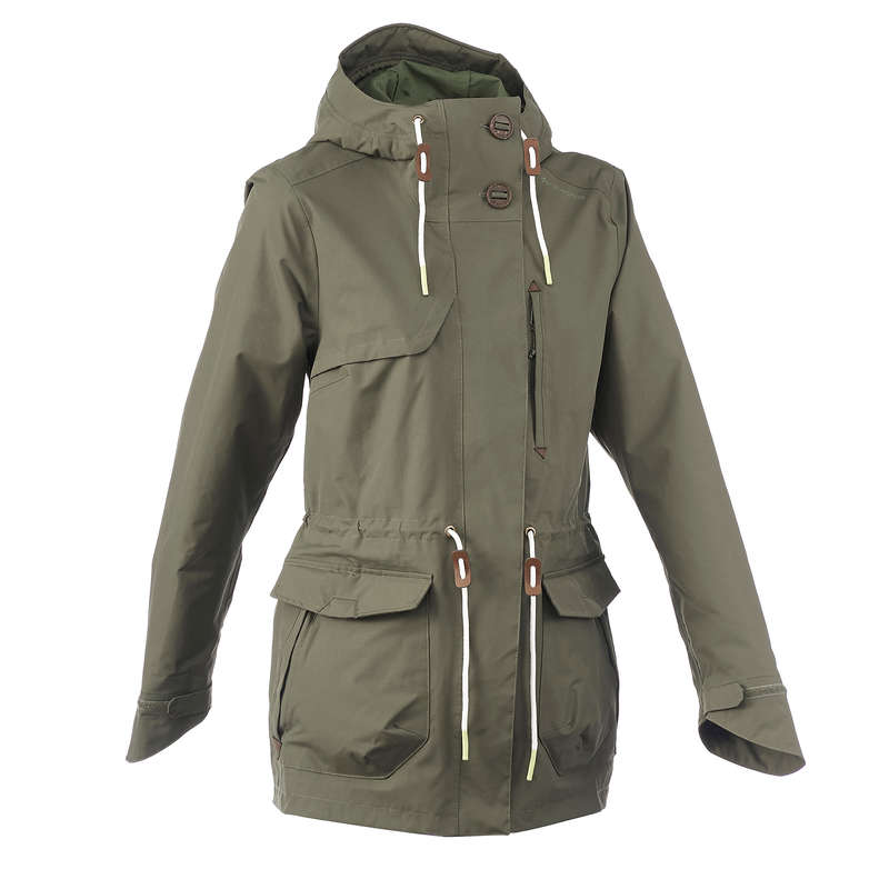 WOMEN NATURE HIKING JACKETS ALL WEATHER Hiking - NH500 Parka Women's Waterproof Jacket - Khaki QUECHUA - Hiking Jackets
