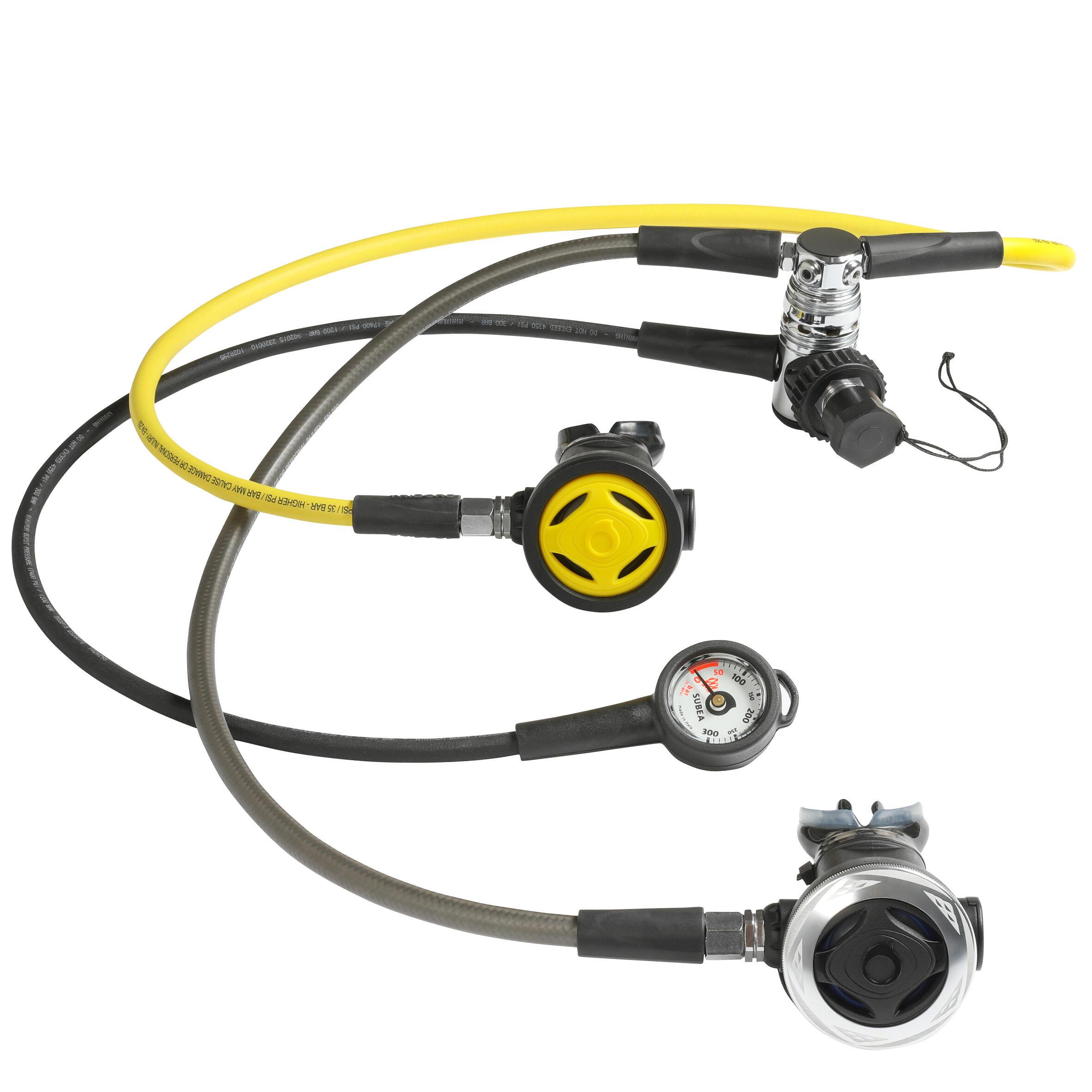 Subea Set van ademautomaat, manometer en octopus SCD 500 DIN 300 gebalanceerde piston kopen? Leest dit eerst: Trimvesten & Ademautomaten Ademautomaat met korting
