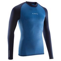 成人款透氣長袖底層衣Keepdry 100-斑駁藍