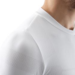 Camiseta Térmica Transpirable Manga Corta Kipsta KDRY500 Hombre Blanco