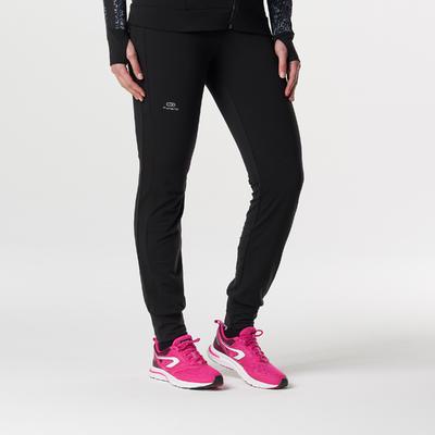 מכנסי טייץ' חמים לריצה לנשים - שחור