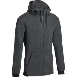 Heren hoodie met rits in spacer-stof voor gym en pilates middengrijs