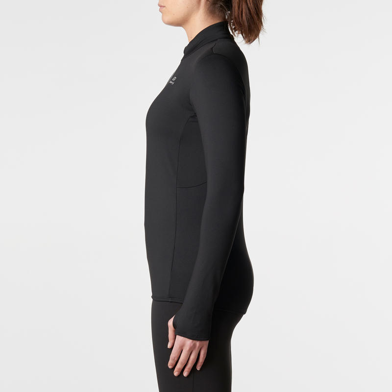 Women's Jogging Long-Sleeved Jersey Run Warm - Black