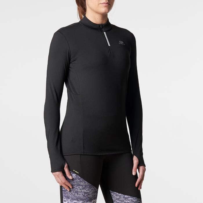 Hardloopshirt voor dames met lange mouwen Run Warm zwart