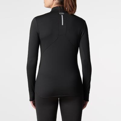 تيشيرت RUN WARM لرياضة الجري للسيدات بأكمام طويلة – لون أسود
