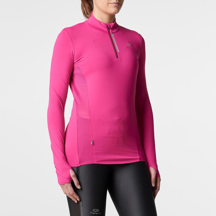 Run Dry + Zip Women's Running Long-Sleeved Shirt - Pink - 1186054