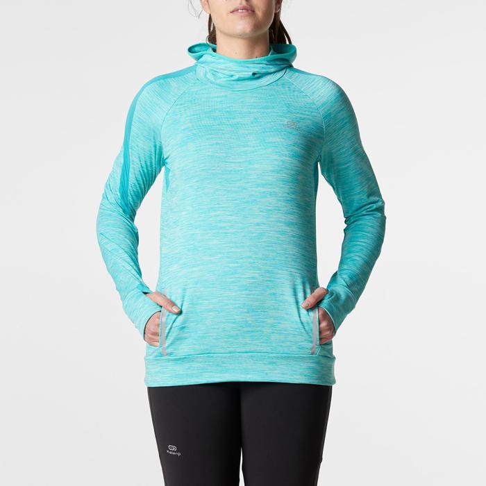 MAILLOT MANCHES LONGUES JOGGING FEMME RUN WARM HOOD CHINE - 1186058