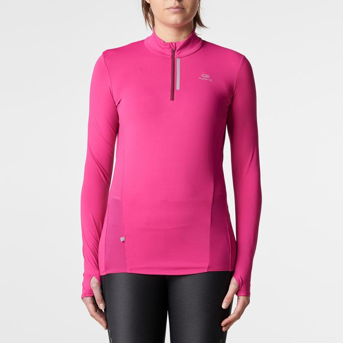 Run Dry + Zip Women's Running Long-Sleeved Shirt - Pink - 1186090
