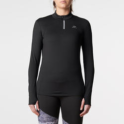 Women's Jogging Long-Sleeved Jersey Run Warm - Black