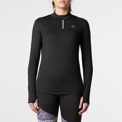 Shirt lange mouwen jogging dames Run Warm zwart