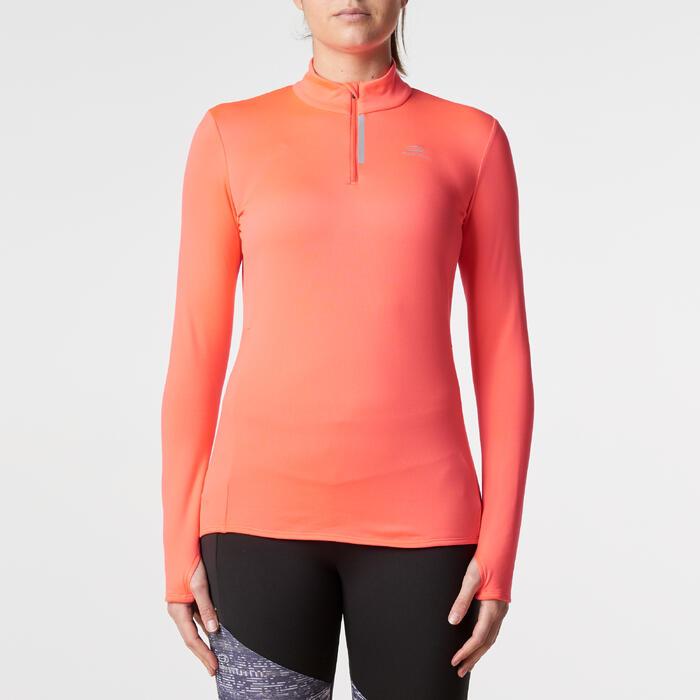 Hardloopshirt voor dames Run Warm met lange mouwen koraal