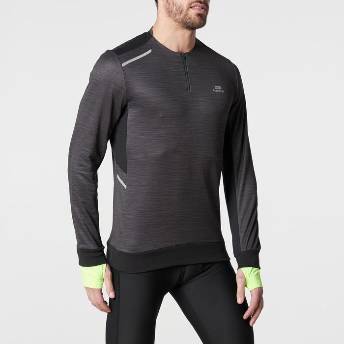 Loopshirt met lange mouwen Run Warm+ voor heren gemêleerd zwart