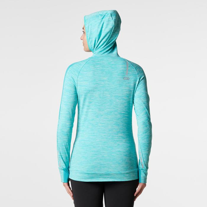 MAILLOT MANCHES LONGUES JOGGING FEMME RUN WARM HOOD CHINE - 1186168