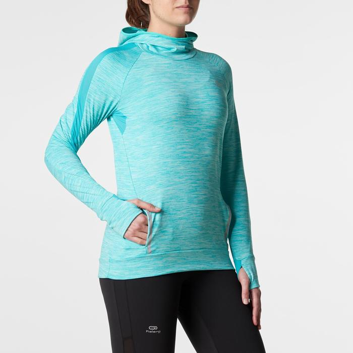MAILLOT MANCHES LONGUES JOGGING FEMME RUN WARM HOOD CHINE - 1186175