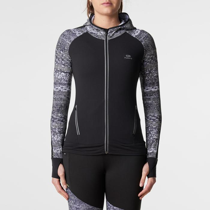 Run Warm Women's Running Jacket Hood - Black  - 1186211
