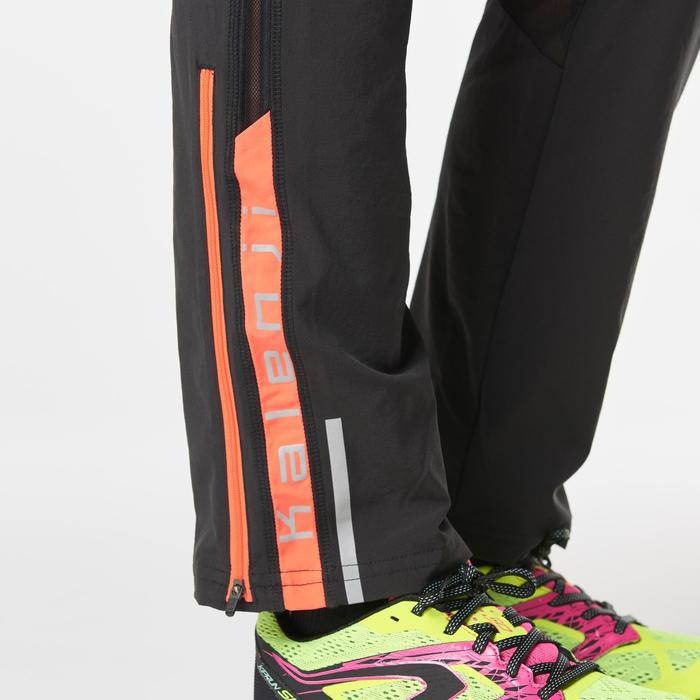 Lange broek voor dames Kalenji Kiprun zwart/koraalrood