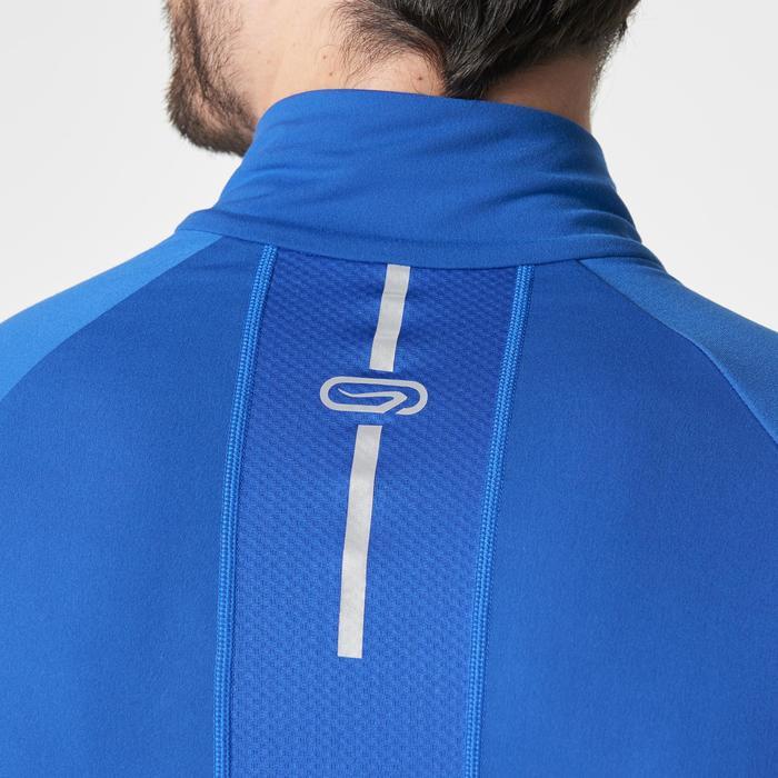 Loopshirt lange mouwen heren Kiprun warm rits blauw
