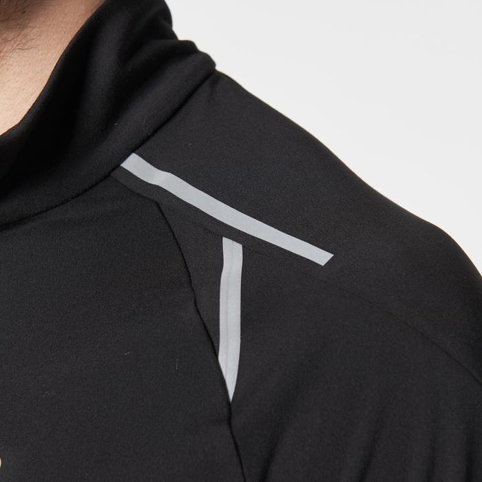 Warm loopshirt Kiprun met lange mouwen en rits voor heren zwart