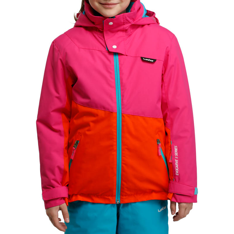 Veste ski enfant fille EVOCARVE rose / blanc