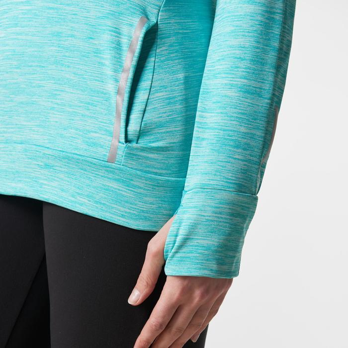 MAILLOT MANCHES LONGUES JOGGING FEMME RUN WARM HOOD CHINE - 1186696
