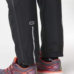 Pantalón Largo Impermeable Running Kalenji Trail Mujer Negro/Amarillo