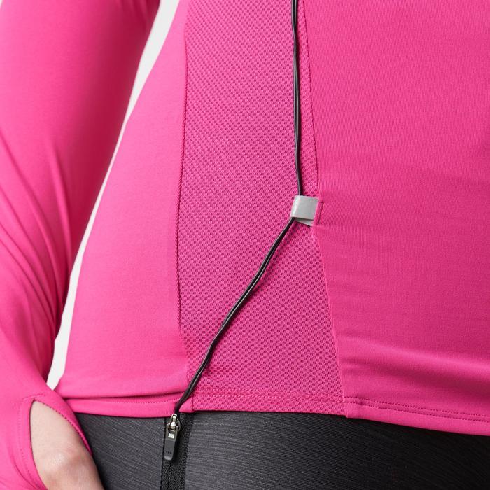 Run Dry + Zip Women's Running Long-Sleeved Shirt - Pink - 1186739
