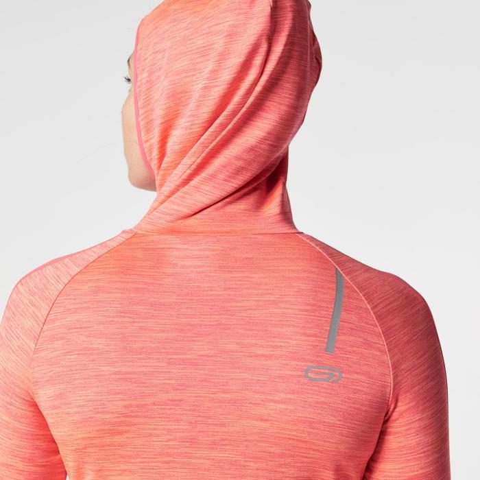 Shirt lange mouwen jogging dames Run Warm Hood koraalrood