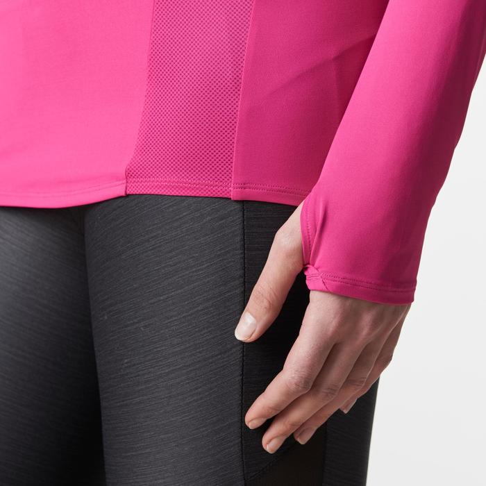 女性長袖跑步運動衫 Run Dry + - 粉紅