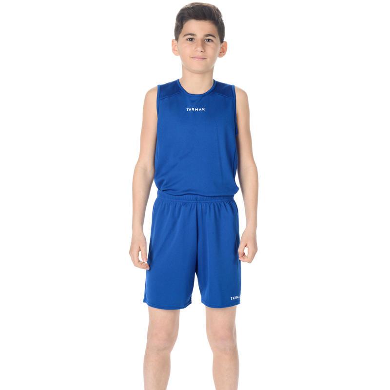 เสื้อกล้ามสำหรับเด็กผู้ชาย/ผู้หญิงผู้เล่นบาสเก็ตบอลมือใหม่รุ่น T100 (สีน้ำเงิน)