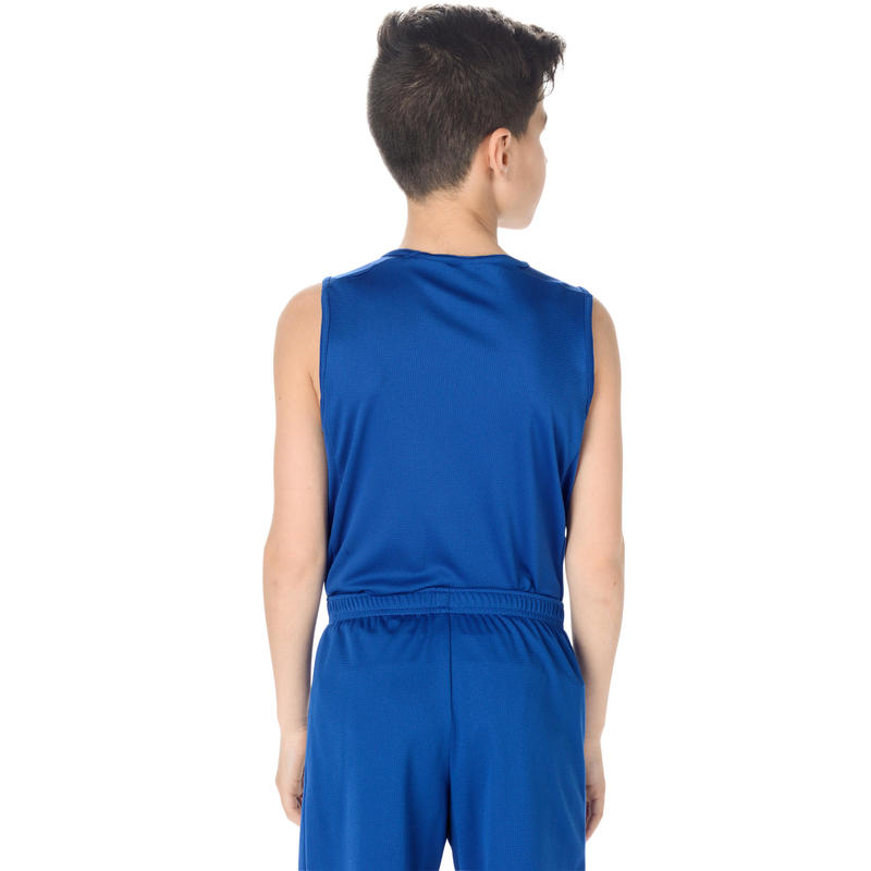 Boys'/Girls' Beginner Sleeveless Basketball Jersey T100 - Blue