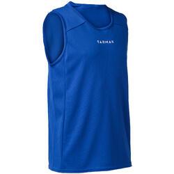Mouwloos basketbalshirt voor beginnende jongens/meisjes blauw T100