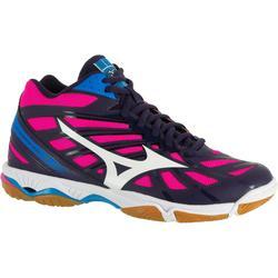 Volleybalschoenen Mizuno Wave Hurricane voor dames blauw, wit en roze
