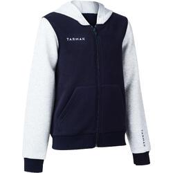 Basketbal hoodie met rits J100 voor beginnende jongens/meisjes