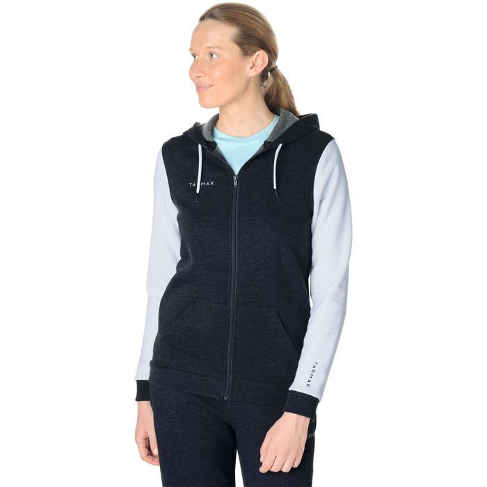 Basketbal hoodie met rits B300 voor beginnende dames grijs wit
