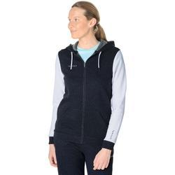 Basketbal hoodie met rits J100 voor dames grijs wit