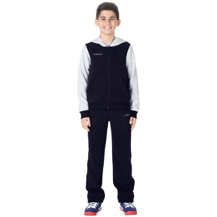 Basketbalhoodie B300 grijs/blauw met rits (kinderen)