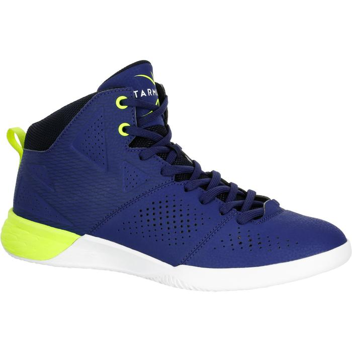 CHAUSSURE BASKETBALL POUR ADULTE H/F DEBUTANT STRONG 300 II BLEU JAUNE