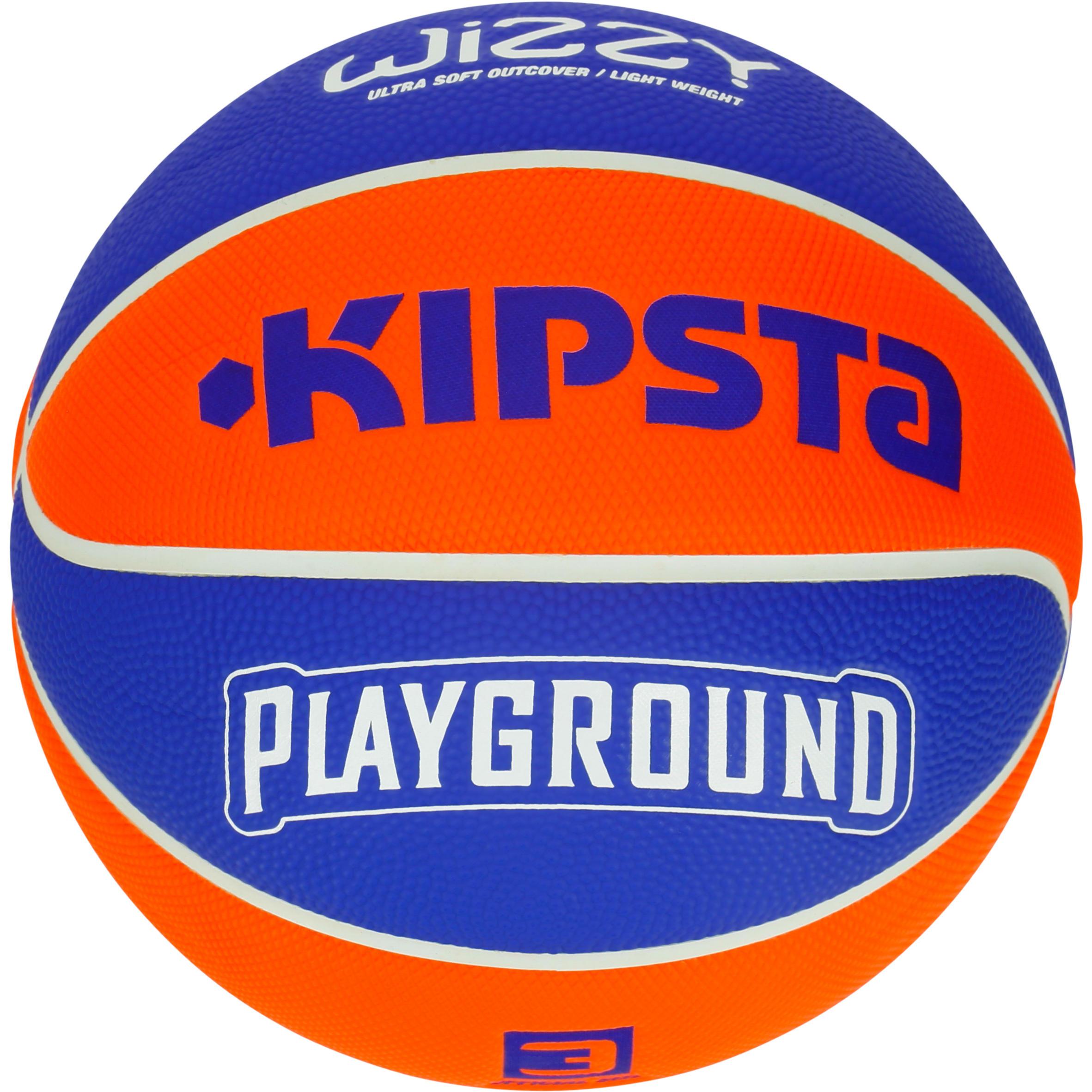 Tarmak Basketbal Wizzy voor kinderen maat 3 Playground blauw/oranje