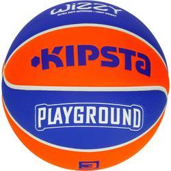 Basketbal voor kinderen Wizzy maat 3 Playground blauw oranje