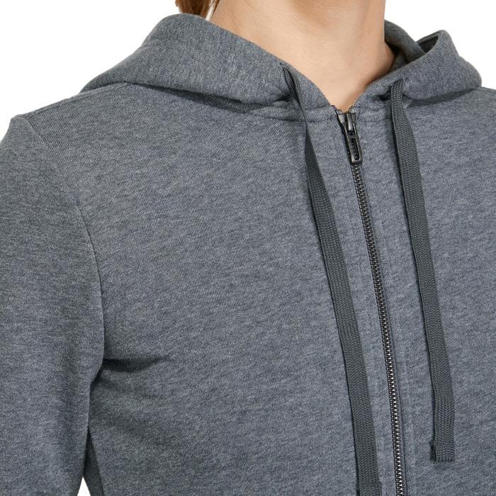 Dames hoodie voor gym en pilates donkergrijs/roze
