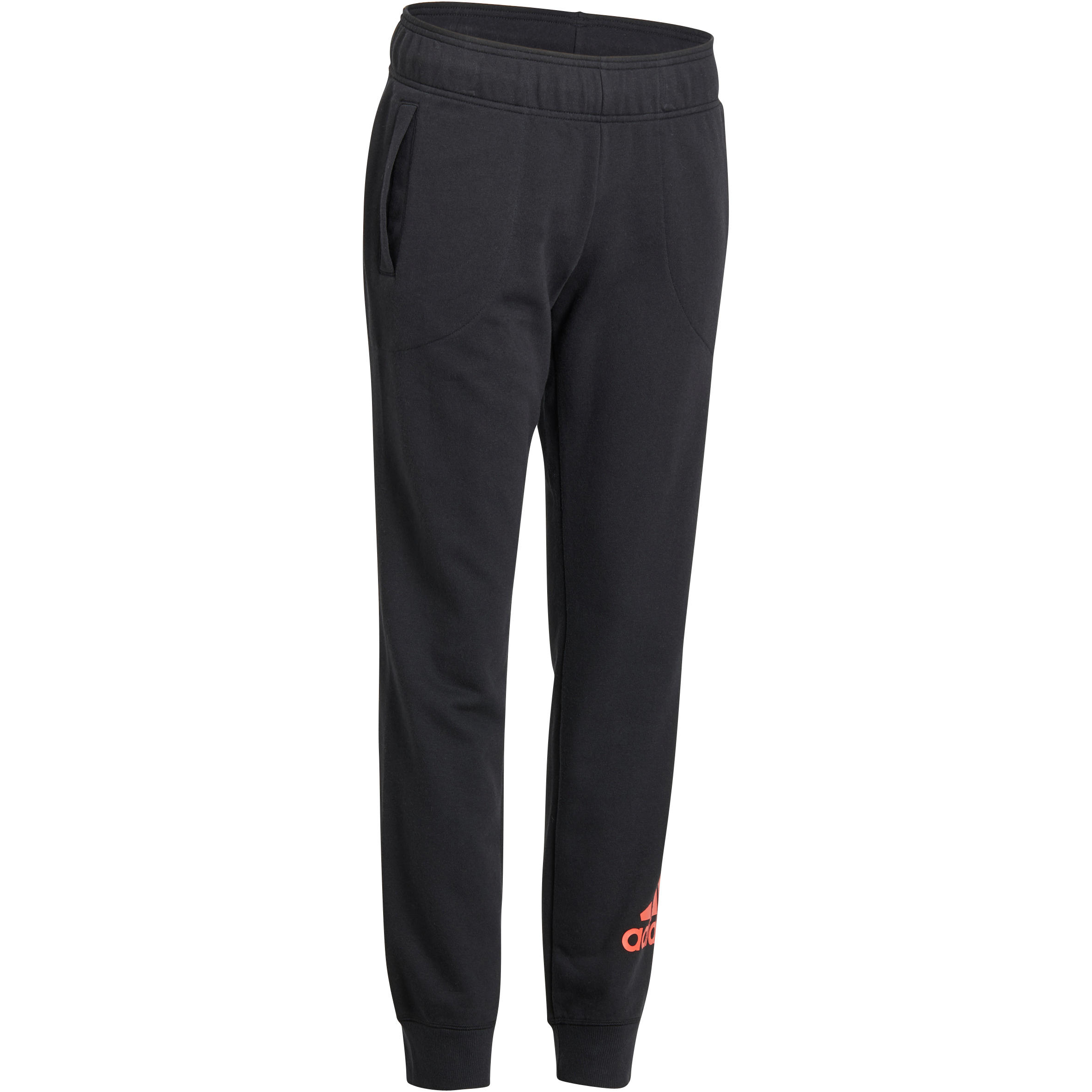 Adidas Damesbroek voor gym en pilates zwart/oranje