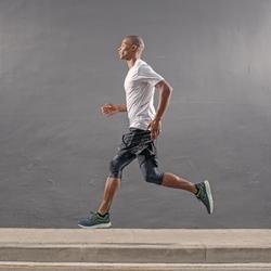 RUN DRY+ MEN'S RUNNING T-SHIRT GREY PRINT