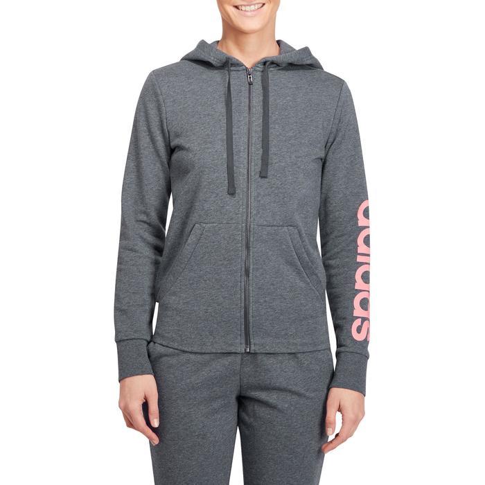 Veste gym pilates femme gris foncé rose - 1188869