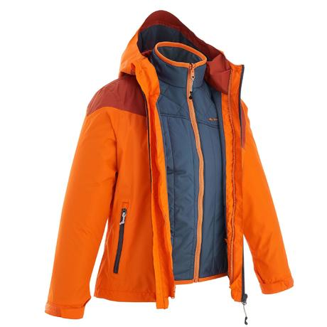 Hike 900 3-in-1 Boys' Hiking Warm Waterproof Jacket - Orange | Quechua