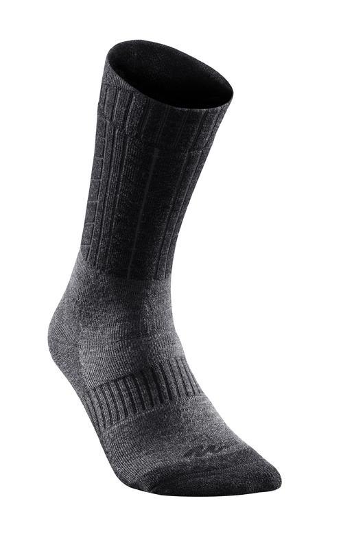 Calcetines de hiking nieve adulto SH500 ultra-warm mid negro.