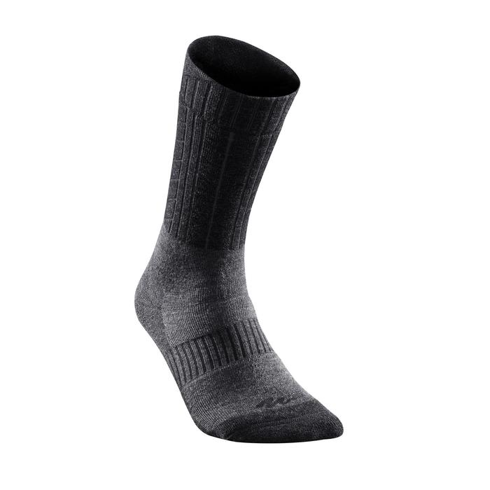 SH500 Ultra-warm Mid Adult Snow Hiking Socks - Black.
